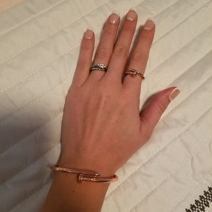 Matching rose gold nail bracelet and ring set